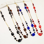 """28"""" Asst Fall Color Fashion Beaded Gold Chain Necklace .56 each"""