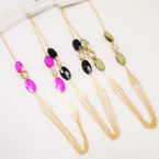 """24"""" Fashion Gold Chain Necklace w/ Colored Beads  .56 each"""