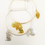 Gold & Silver Adjustable Wire Bangle w/ Tree & Owl Charms .39 each