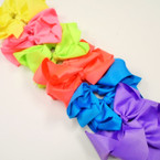 "8"" Jumbo Gator Clip Bow Mixed Neon Colors .55 each"
