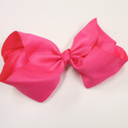 "8"" Jumbo Gator Clip Bow All Hot Pink   .55 each"