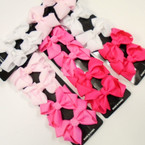 "4 Pack 3"" Pinktones & White Gator Clip Bows .54 each set"