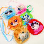 "4.5"" 3D Cat & Dog Zipper Bags w/ Long Strap .75 each"