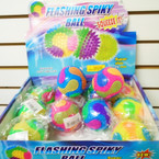 "3"" Multi Color  Spikey Light Up Ball 12 per display .56 ea"