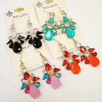 Crystal & Acrylic Stone Fashion Earrings .54 each