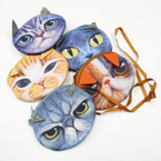 "4"" Cat Theme Coin Bag w/ Zipper & Long Strap .56 each"
