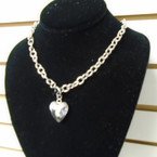 "18"" Silver Link Toggle Necklace w/ Puff Heart Pend. .57 each"