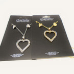 Gold & Silver Crystal Stone Heart Pend. Neck Set .57 each set