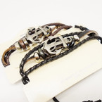 Multi Line Leather Bracelet w/ Mixed Style Gold Anchor Only .54 ea