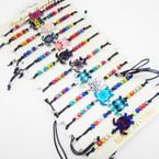 Colorful Enamel Turtle & Colored Bead Black Cord Bracelets .54 each