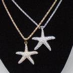 "16"" Fancy Gold & Silver Chain Necklace w/ Crystal Stone Starfish .56 each"