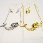 "Gold & Silver Necklace Set w/ 2.5"" Mermaid Pendant .54 per set"