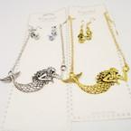 "Gold & Silver Necklace Set w/ 2.5"" Mermaid Pendant .54 per set"