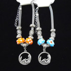 Silver Chain Fashion Bead Bracelet w/ Silver Mermaid Charm .54 each