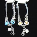 Pandora Style Bracelet Silver w/ Mermaid Charm & Fireball Bead   .56 each