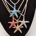 "16"" Fancy Gold & Silver Chain Necklace w/ Colored Crystal Stone Starfish .56 each"