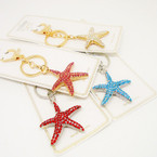 "2"" Gold & Silver Crystal Stone Star Fish Keychain/Purse Charm .56 each"