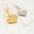 "2"" Gold & Silver Crystal Stone Heart Keychain/Purse Charm .56 each"