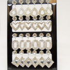 4 Shape Crystal & Rhinestone Fashion Earrings on display .54 each pr