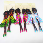 "3.5"" Afro Hair w/ Poka Dot Dress Foxy Lady Wood Earrings .54 each"