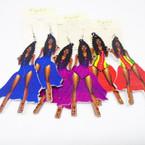 """3.5"""" Night Out Theme Fancy Lady Wood Earrings .54 each"""