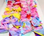 "5"" Layered Mixed Color Ribbon Gator Clip Bows w/ Clear Stone .54 each"