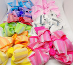 "5"" 2-Layered Mixed Color  Gator Clip Bows w/ Metallic Fabric  .54 each"