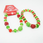 2 Style Crystal Bead & Fire Ball Christmas Color Bracelets .56 each