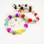 MBL Bead,Silver Turtle & Fireball Stretch Bracelets .54 each