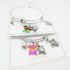 Silver Adjustable Wire Bangle w/ Turtle Charms as shown  .54  ea