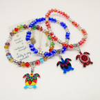 Crystal Beaded Stretch Bracelet w/ Colorful Turtle Charm  .54 each