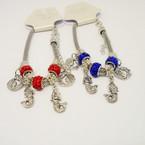 Pandora Style Bracelet Silver w/ Mermaid Charms & Fireball Bead   .56 each