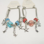 Pandora Style Bracelet Silver w/ Mermaid & Sealife Charms & Fireball Bead   .56 each