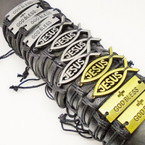 Teen Leather Bracelet w/ God Bless/Jesus Plaques .54 each