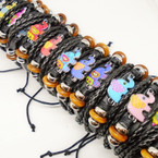Multi Line Leather Bracelet w/ Colorful Elephant  Charm  .54 ea