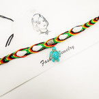 Rasta Color Cord Choker w/ Shells & Stone Turtle Charm .54 each