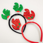 Sparkle Reindeer Holiday Headbands 2 colors as shown .58 each