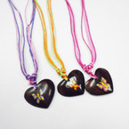 Multi Cord Necklace w/ Coconut Heart Hand Painted Butterfly Pend. .56 each