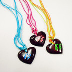 Multi Cord Necklace w/ Coconut Heart Hand Painted Dolphin Pend. .56 each