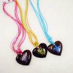 Multi Cord Necklace w/ Coconut Heart Hand Painted Turtle Pend. .56 each