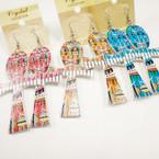 """3"""" Cross w/ Colorful Design  Wood  Earrings .54 per pair"""