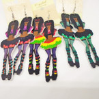 "3""  Funky Lady Wood Earrings w/ Crazy Knee Highs .50 each"