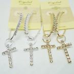 Rhinestone Charm Earrings w/ Cross .54 each