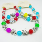 Silver Elephant & Glass Bead Stretch Bracelets .54 each