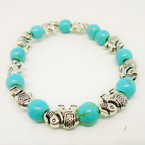 Silver Elephant & Stone Turq. Bead Stretch Bracelets .54 each