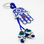 "2"" Hamsa Metal Keychain w/ Dangle Eye Beads .54 each"
