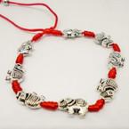 Cast Silver Elephant Red Cord Bracelets .54 each
