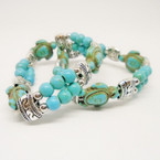 Two Line Turquoise Stone Turtle Stretch Bracelets  .54 each
