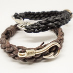 New Braided Leather Cord Bracelet w/ Fish Hook Lobster Claw .54 each