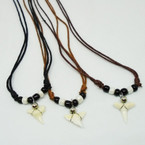 DBL Cord Necklace w/ Real Shark Tooth Pendant .60 each